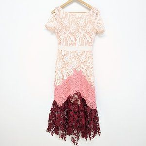 Maje Peach and Pink Ombre Midi Dress